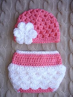 Perfect outfit for spring newborn photo shoots!  Cute Newborn Girl Hat and Diaper Cover Made by DiddleyDooCrochet, $25.00