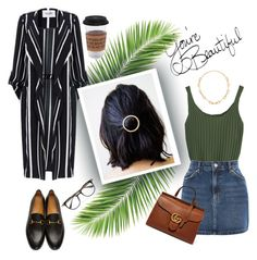"""""""🙈👋🌿"""" by hakobyann ❤ liked on Polyvore featuring Topshop, Gucci and Puebco"""