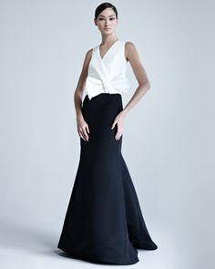 Zoom +                                         Carolina Herrera Silk Faille Combo Gown -Neiman Marcus