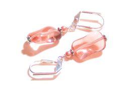 Peach Wavy Rectangle Dangle Earrings Silver by JKCJewelry on Etsy, $12.00