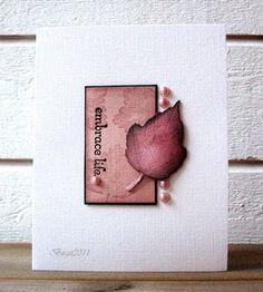 CASed card inspiration for Fantastic Foliage.  En utmaning var att använda bling på kortet. Stämpel från Kortstugan och ett Cherry Lynn löv.