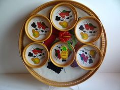 Vintage Bamboo Hawaii Tray and Coaster Set by TimelessTreasuresbyM