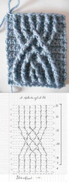 Crochet Cable Stitch, Crochet Stitches Chart, Crochet Motifs, Crochet Diagram, Crochet Squares, Magazine Crochet, Knitting Patterns, Crochet Patterns, Crochet Hair Accessories