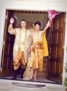 Style & Sensibility: Alicia and Matt - Bold Cultural Celebration (Part I - Ceremonies) Cambodian Wedding Dress, Thai Wedding Dress, Wedding Dresses, Wedding Outfits, Laos Wedding, Khmer Wedding, Traditional Wedding, Traditional Dresses, Groom Attire