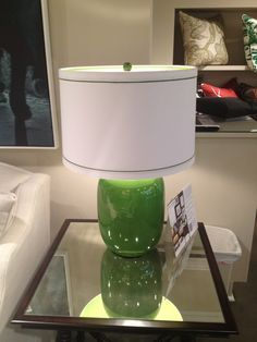 High Point Market Spring 2012-Fab Green Currey and Company lamp in the C.R. Laine Showroom...You know how I love green!?!?!