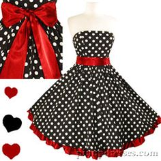 PinupDresses.com New Retro 50s Vintage Style Polka Dot Red Ruffle Bow Dress #Retro #Dress