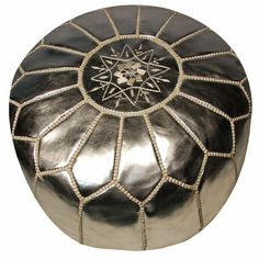 Moroccan Pouf in Silver Leather - so chic!