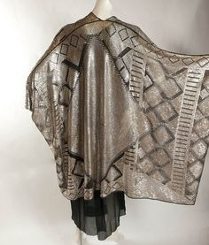 Grand & Magnificent  Densely 'Silvered' Black Assuit Cocoon Shawl, 1920's