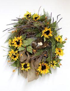 Country Front Door Wreath, Sunflowers, Bird Nest, Summer Wreath, Natural Burlap, Honeysuckle, Summer Wreath, Country Decor --
