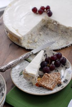 Savory Blue Cheese Cake red grapes gluten free crackers  BoulderLocavore.com  Would use cojita instead and have a fresh pico on the side!! Oh this looks so yummy