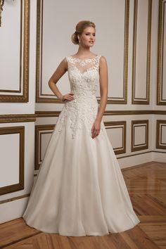 Lace and Organza Sabrina Neckline A-Line Bridal Gown