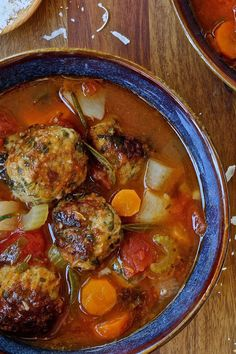 Spinach Meatball Minestrone Soup - for low carb use half cream and half water instead of the milk, low carb bread or crushed pork rinds instead of the breadcrumbs, omit the potato and add in spiralized zucchini.