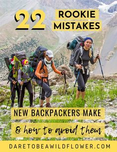 22 mistakes new backpackers make all the time and how to avoid them! Read 10 embarrassing gear mistakes I made on my first backpacking trip 12 more common newbie backpacking mistakes to avoid. backpacking tips Thru Hiking, Hiking Tips, Camping And Hiking, Camping Life, Camping Hacks, Camping Gear, Camping Gadgets, Winter Camping, Camping Stuff