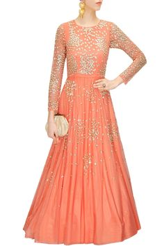 This anarkali gown is featuring a coral peach in net embellished with sequins and beads embroidery. This anarkali gown has round cut-out detailing at back with side zip. Lining: Semi-crepe, can-can net. Latest Designer Sarees, Designer Dresses, Pakistani Outfits, Indian Outfits, Salwar Kameez, Sharara, Anarkali Gown, Anarkali Suits, Long Anarkali