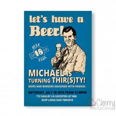 Vintage Beer Themed Single Sided Personalised Birthday Invitations - From as little as £0.41 per card - Including free envelopes and delivery on all orders!