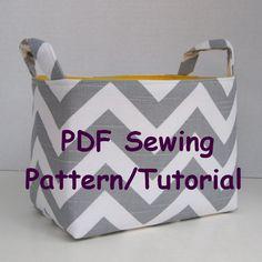 Fabric Storage Organizer Bin - PDF Sewing Pattern/Tutorial -Three Different Looks - Fabric Easter Basket - Fabric Halloween Basket. $10.00, via Etsy.