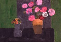 Bernard Cathelin : Zinias et Hortensias à la Table Noire - Painting