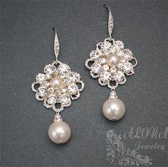Vintage Inspired Bridal Wedding Earrings Ivory by alonajewelry, $38.00