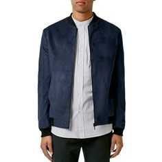 Topman Faux Suede Bomber Jacket ($160) ❤ liked on Polyvore featuring men's fashion, men's clothing, men's outerwear, men's jackets, navy blue, mens sherpa lined jacket, old navy mens jackets, mens fur lined bomber jacket and mens navy bomber jacket