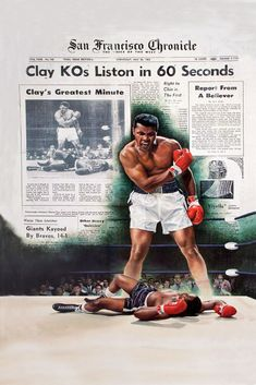 Muhammad Ali - Cassius Clay KO's Sonny Liston in 60 Seconds HS by Doug London - Limited Edition Print Mohamed Ali, Dojo, Muhammad Ali Boxing, Float Like A Butterfly, Boxing Champions, Sport Icon, Mike Tyson, Sports Figures, Famous Artists
