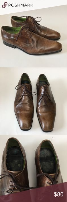 Kenzo Mens Brown Leather Lace Up Dress Shoes Kenzo Mens Brown Leather Lace Up Dress Shoes  MENS SIZE 9.5  Total length can be seen in photos  CONDITION-  Good condition with lots of life left in them. Quality leather with some lighter spots on front toe box. Motivated buyer could polish these up to look new. Soles in excellent condition. Kenzo Shoes Oxfords & Derbys