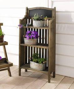 Holz-Regal mit Tafel