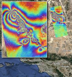 NASA Map Shows How California Earthquakes Moved The Earth : NPR NASA's Advanced Rapid Imaging and Analysis team created this map, which shows surface displacement caused by the recent major earthquakes in Southern California. Earthquake News, Recent Earthquakes, San Andreas Fault, Earth Surface, Circular Pattern, Psychedelic Art, How To Level Ground, Astronomy, Colors