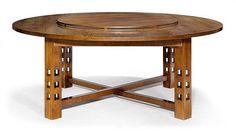 <B>CHARLES RENNIE MACKINTOSH</b></i> <br> (1868 - 1928) <br> TABLE, '304 G.S.A.' model, designed in 1904 <br> Walnut. D 190, H 74 cm.