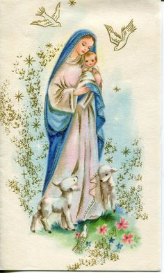 VintageHampshire Christmas Card: Mary with Baby Jesus and Lambs