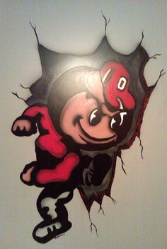 Brutus Buckeye wall mural by RynoCreations on DeviantArt Ohio State Rooms, Ohio State Crafts, Ohio State Baby, Buckeyes Football, Ohio State Football, Ohio State University, Ohio State Buckeyes, College Football, Ohio State Tattoos
