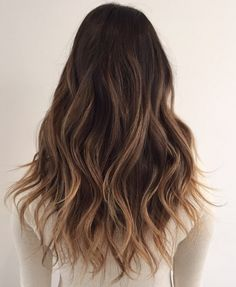 The ombre hair trend has been seducing for some seasons now. More discreet than tie and dye, less classic than sweeping, this new technique of hair. Brown Hair With Blonde Highlights, Brown Hair Balayage, Hair Color Balayage, Asian Hair Highlights, Ombre Hair Color, Brown Hair Colors, Cut My Hair, Hair Cuts, Brunette Hair