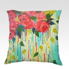 ROSE RAGE Fine Art Velveteen Throw Pillow Cover 18 18 Throw Pillow Cover, Decorative Floral Flowers Roses Red Turquoise Blue Home Decor Colorful Fine Art Toss Cushion, Modern Bedroom Bedding Dorm Room Living Room Style Accessories by EbiEmporium, $75.00