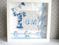 Personalised Baby Button Art Deep Box Picture Frame Christening Gift Keepsake in Home, Furniture & DIY, Home Decor, Photo & Picture Frames | eBay