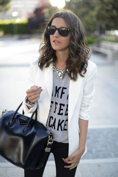 White blazer, graphic tee, statement necklace, black skinnies and Givenchy bag