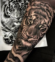 Tiger Eyes Tattoo, Tiger Butterfly Tattoo, Tiger Tattoo Sleeve, Lion Tattoo Sleeves, Best Sleeve Tattoos, Tattoo Sleeve Designs, Tigeraugen Tattoo, Forarm Tattoos, Tattoo Set
