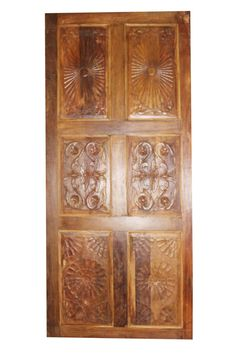 Antique Door, carved Barn Door, Sunrays and Lotus old reclaimed Interior Door, Hand Carved Rustic Farmhouse Design Farmhouse Design, Rustic Design, Rustic Decor, Rustic Farmhouse, Lotus, Indian Doors, Wrought Iron Chairs, Frame Wall Decor, Wall Art