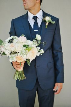Groom in Navy Suit | photography by http://rebekahwestover.com/ Like the suit and boutonniere