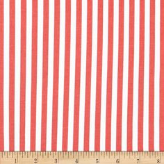Michael Miller The Littles Clown Stripe Coral from @fabricdotcom  From Michael Miller, this cotton print is perfect for quilting, apparel and home decor accents.  Colors include coral and white.  This stripe is printed parallel to the selvedge.