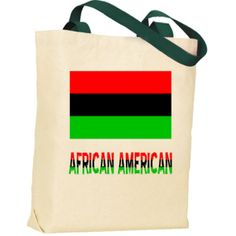 "African American Flag & Word Forest Green Handle Tote Bag | Flags of Nations or Flagnation - Flag of the African Diaspora, sometimes known as the African American Flag, with the words ""AFRICAN AMERICAN"" below, in the colors of the flag."