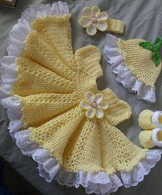 Beautiful yellow crochet baby dress set with yards of lace