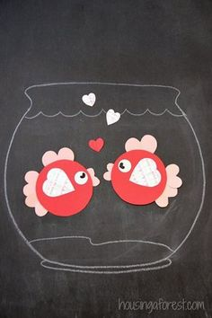 6 Heart Shaped Animals with FREE printable PDFs ~ Heart Shaped Fish Valentine crafts for kids animals silly animals animal mashups animal printables majestic animals animals and pets funny hilarious animal Valentine's Day Crafts For Kids, Valentine Crafts For Kids, Daycare Crafts, Toddler Crafts, Preschool Crafts, Craft Activities, Arts And Crafts, Paper Crafts, Fish Crafts