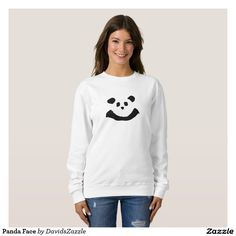 Panda Face Women's Sweatshirt  Available on more products! Type in the name of the design in the search bar on my Zazzle Products Page. Thanks for looking!   #tee #shirt #t-shirt #clothes #fashion #childs #children #kid #men #women #adult #unisex #sweatshirt #shirt #long #sleeve #hoody #jacket #girl #boy #fun #zazzle #buy #sale #cute #cuddly #panda #bear #cartoon #illustration #black #white #drawing #nature #planet #earth #animal #friend