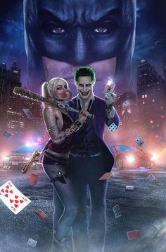 Joker and Harley Poster. Joker and Harley Poster Harley Quinn Tattoo, Harely Quinn And Joker, Le Joker Batman, Harley Quinn Et Le Joker, Harley And Joker Love, Der Joker, Harley Quinn Drawing, Margot Robbie Harley Quinn, Joker Art