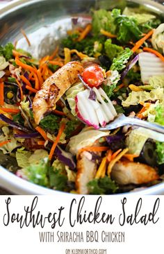 Easy family dinner ideas just got even better with this Easy Southwest Chicken Salad made with sriracha bbq chicken. Give your side dish a Southwestern kick! AD