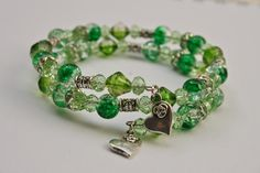 Sue, green crystal glass and glass beads wrap bracelet with silver tone accents and heart charms.  £5.00  www.jinglejewellery.com  www.facebook.com/jinglejewellery