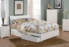 Soho White Flat Panel Footboard Platform Storage Bed