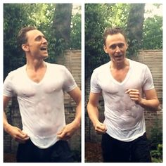 Tom Hiddleston's Ice Bucket Challenge for charity, August 18, 2014.