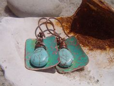 Hammered Copper Earrings with Turquoise by CopperMountainGems, $23.00