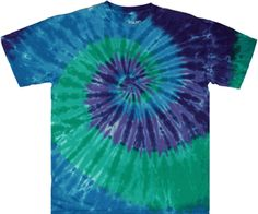 Find a unique blue, green, and purple spiral tie dye shirt from Tie Dyed Shop. Tie Dye Fashion, Batik Fashion, Purple Dye, Green And Purple, Tie Dye Party, Spiral Tie Dye, Tie Dye Outfits, Tie Dye Shirts, Tie Dye Patterns