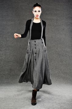 Gray wool plaid skirt/Straps skirt/ women's maxi skirt/ Vintage skirt/ winter coat C048